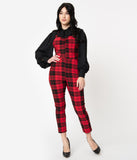 Unique Vintage 1950s Red & Black Plaid Marcel Cropped Jumpsuit