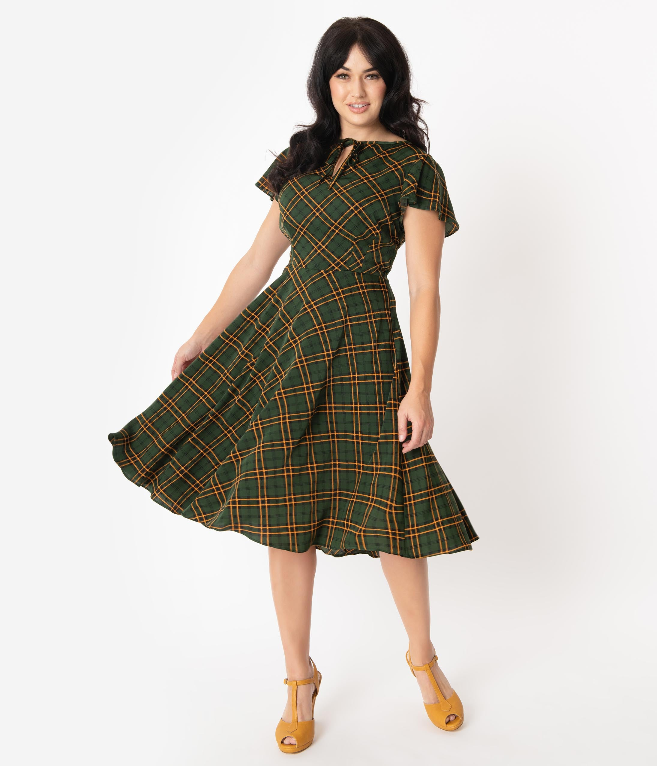 1940s Day Dress Styles, House Dresses Unique Vintage 1940S Style Green Plaid Formosa Swing Dress $98.00 AT vintagedancer.com
