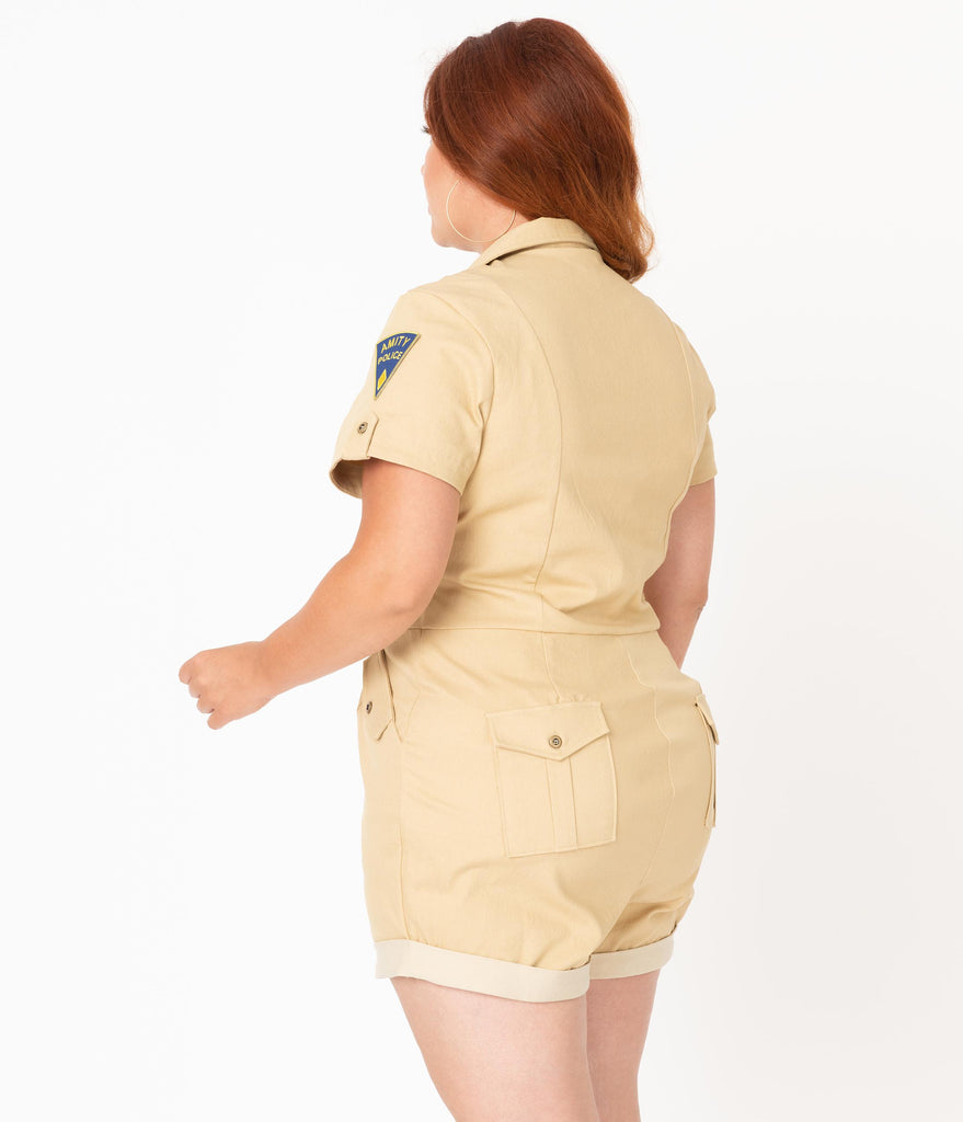 Jaws x Unique Vintage Plus Size 1950s Style Khaki Tan Mia Romper