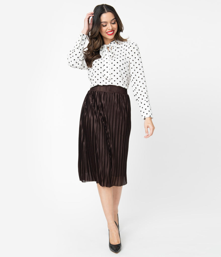 Vintage Style Brown Accordion Pleated Skirt
