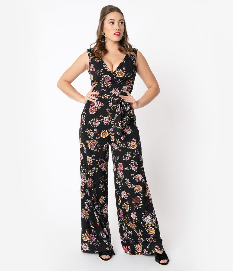 Unique Vintage Black Floral Print Sleeveless Montgomery Jumpsuit