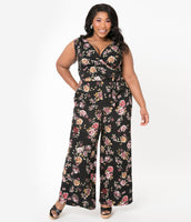 Plus Size V-neck Floral Print Sleeveless Knit Gathered Stretchy Banding Pocketed Spring Jumpsuit With a Sash