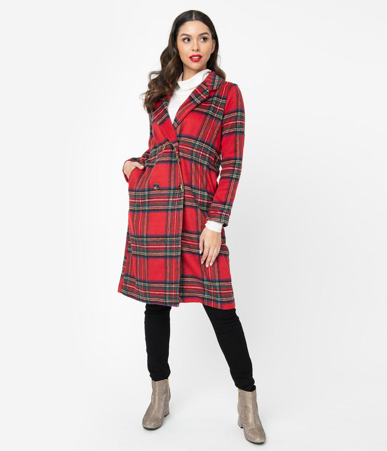 Retro Style Red Plaid Double Breasted Coat