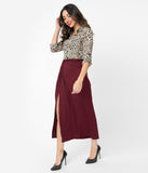 Wine Side Slit Maxi Skirt