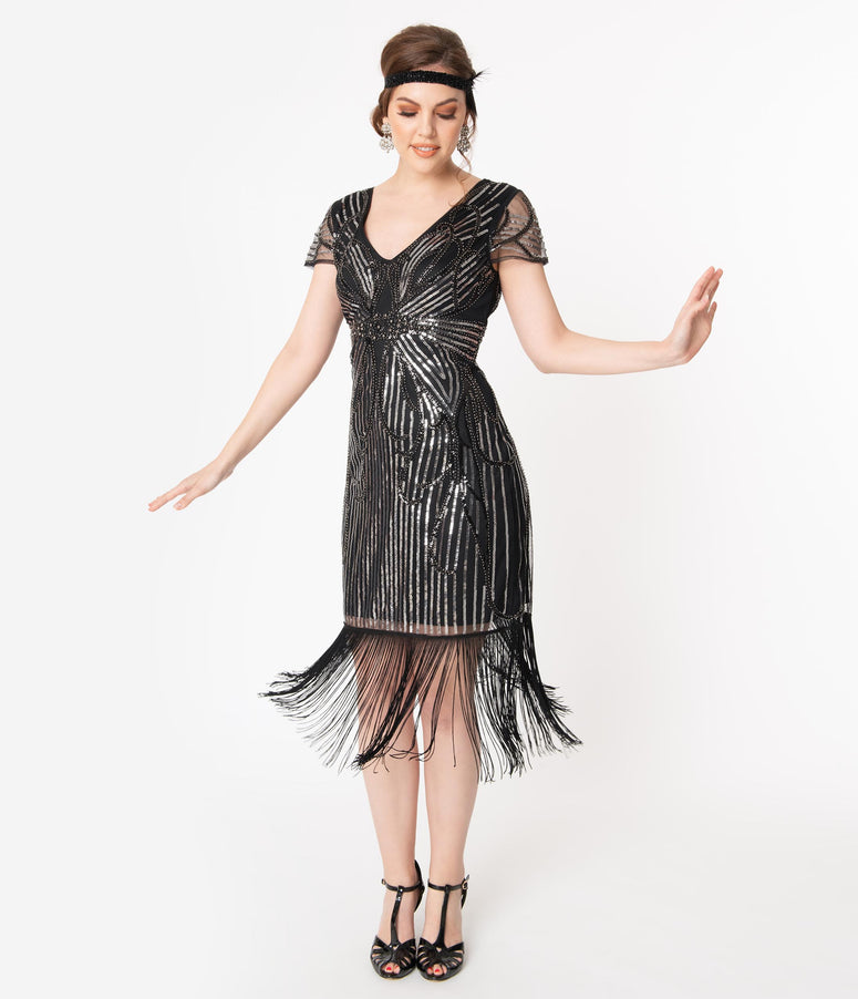 Unique Vintage 1920s Black & Silver Lille Fringed Flapper Dress