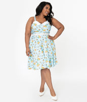 Plus Size General Print Notched Collar Sweetheart Swing-Skirt Gathered Shirred Pocketed Fitted Back Zipper Club Dress