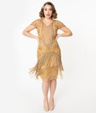 1920s Style Gold Beaded Edith Flapper Dress