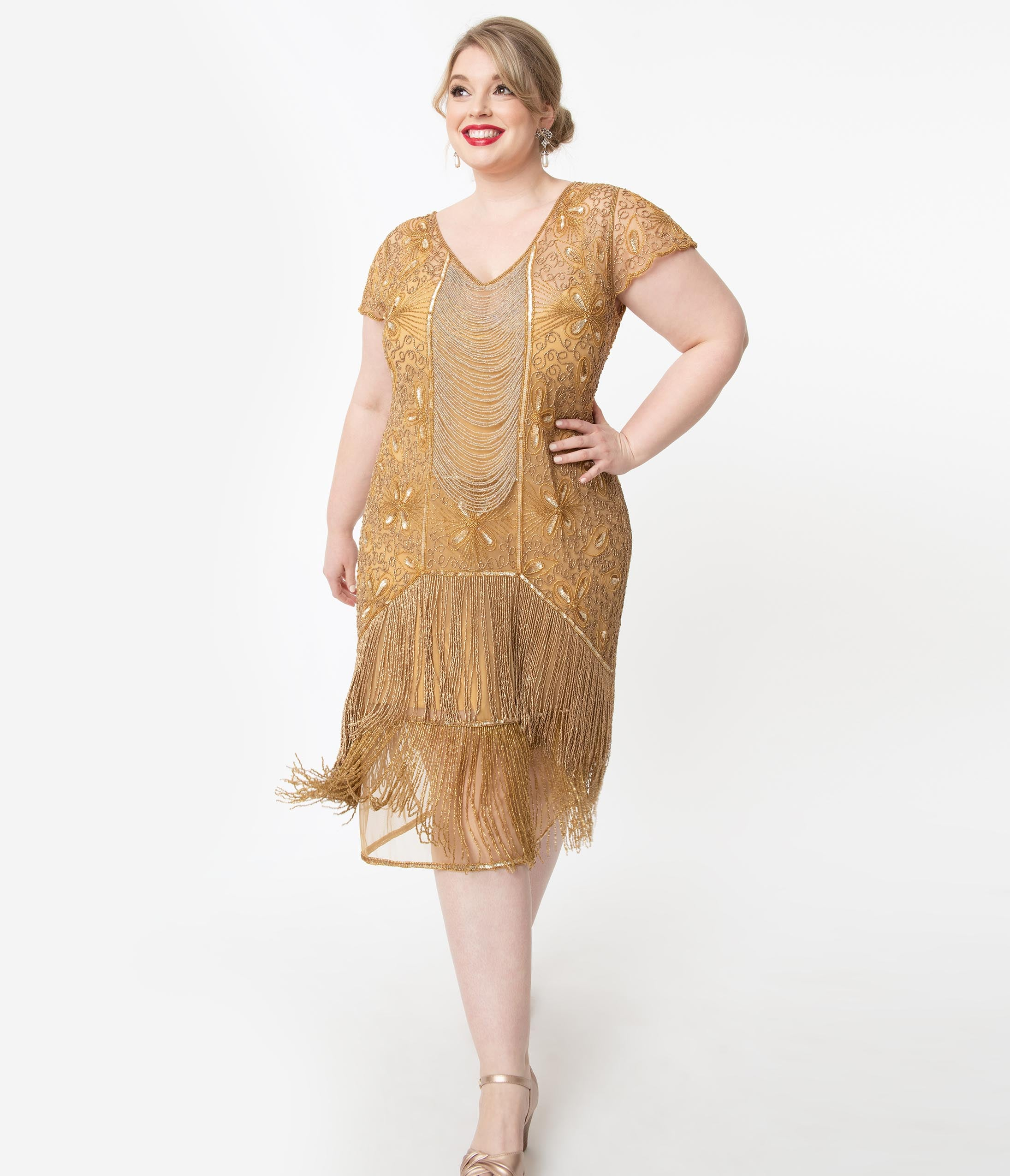 1920s Plus Size Flapper Dresses, Gatsby Dresses, Flapper Costumes Plus Size 1920S Style Gold Beaded Edith Flapper Dress $198.00 AT vintagedancer.com