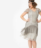 1920s Style Silver Beaded Edith Flapper Dress
