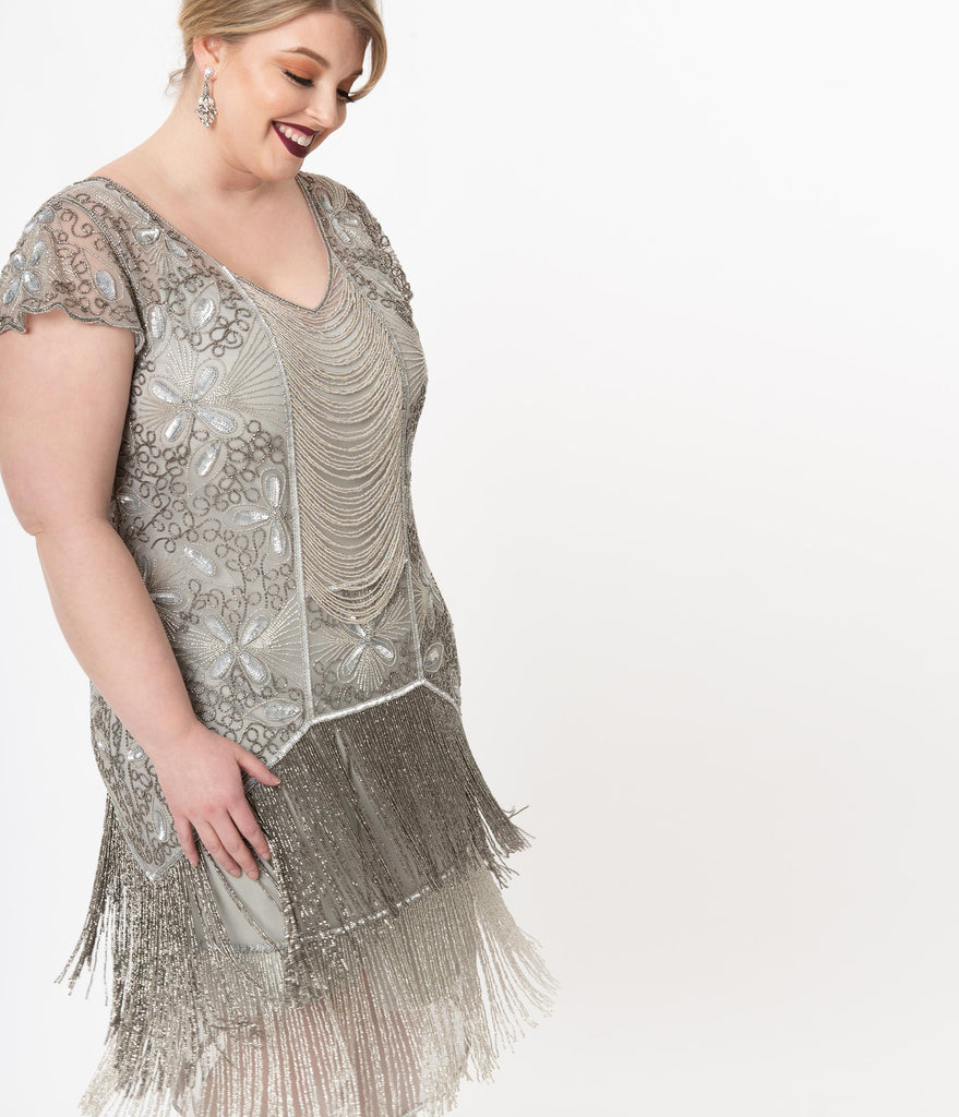 Plus Size 1920s Style Silver Beaded Edith Flapper Dress