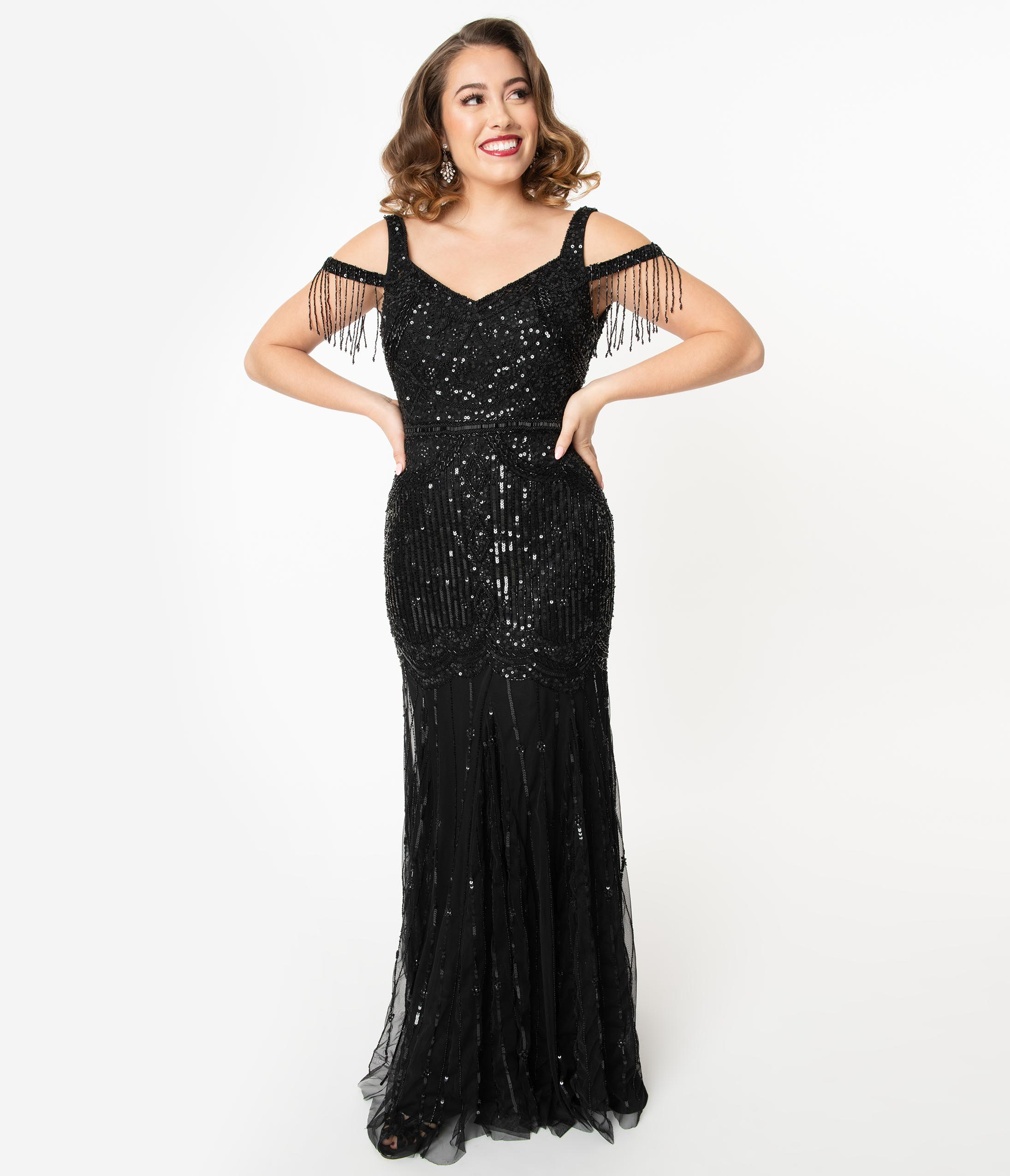 1920s Downton Abbey Dresses Deco Style Black Beaded Mermaid Chloe Flapper Dress Gown $238.00 AT vintagedancer.com