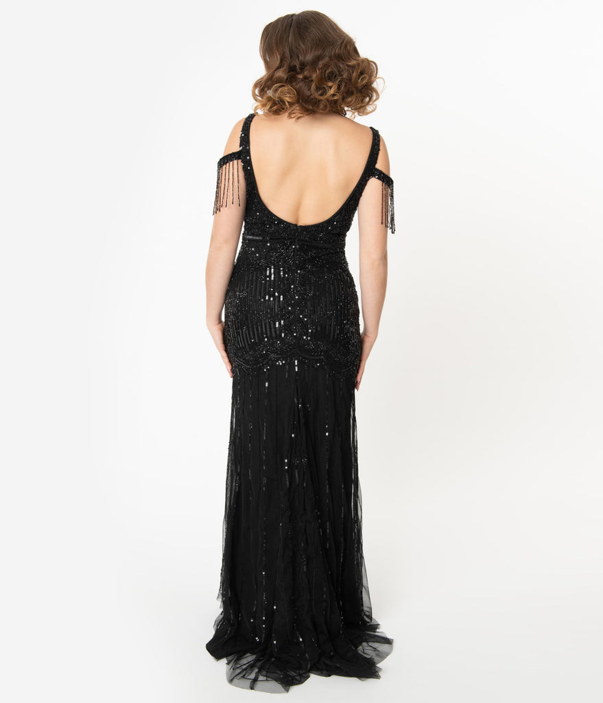 Deco Style Black Beaded Mermaid Chloe Flapper Gown