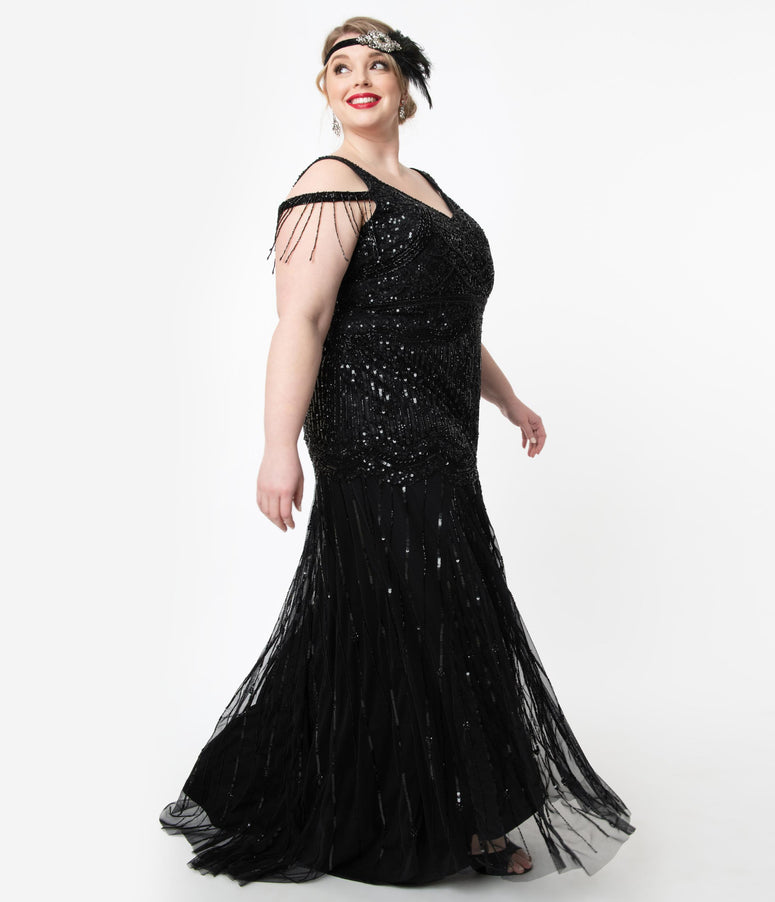 Plus Size Deco Style Black Beaded Mermaid Chloe Flapper Gown