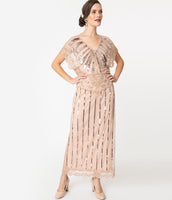 V-neck Cap Sleeves Vintage Beaded Mesh Maxi Dress