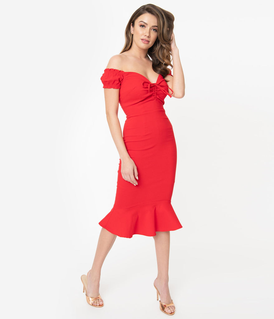 Collectif Red Off Shoulder Sasha Fishtail Wiggle Dress