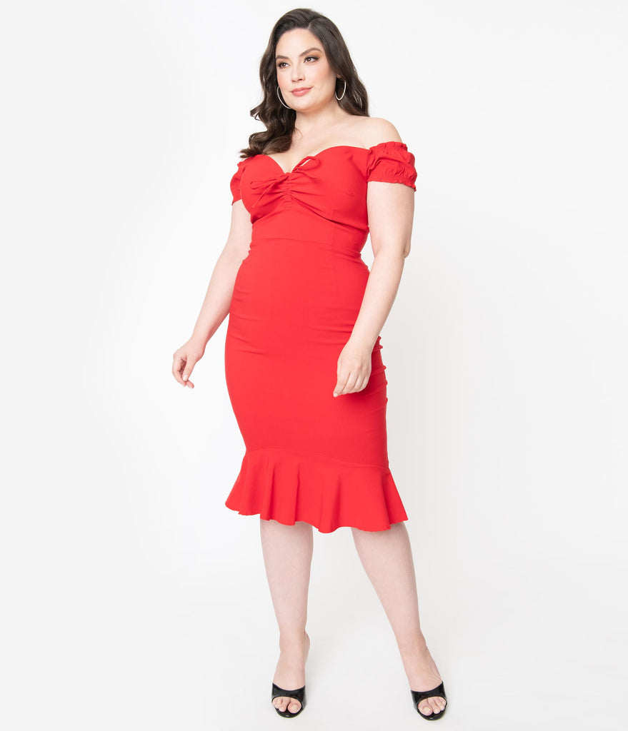 Collectif Plus Size Red Off Shoulder Sasha Fishtail Wiggle Dress