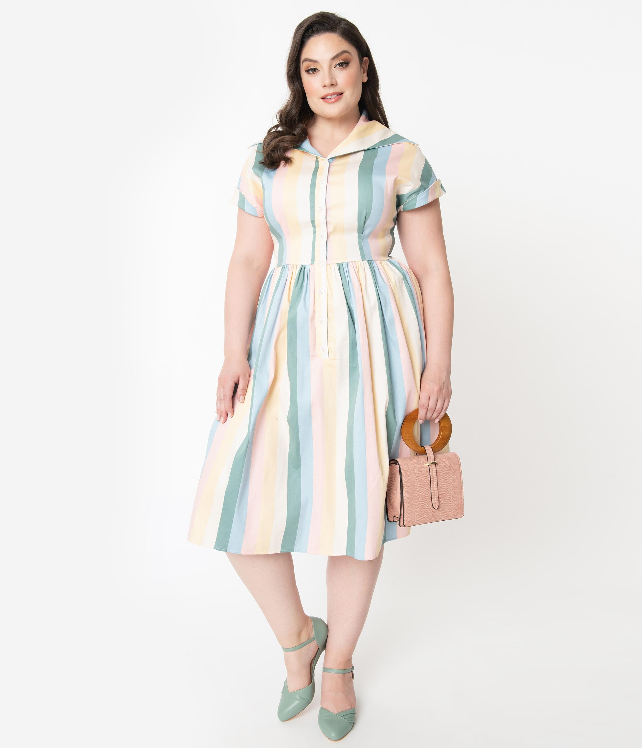 1950s Plus Size Dresses, Swing Dresses Collectif Plus Size Pastel Teacup Stripe Judy Swing Dress $92.00 AT vintagedancer.com