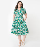 Collectif Plus Size Birds Of Paradise Print Caterina Swing Dress