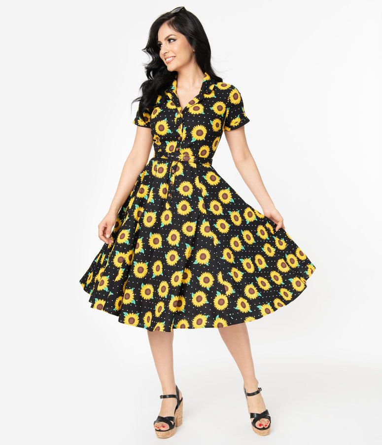 Collectif Black & Yellow Sunflower Caterina Swing Dress