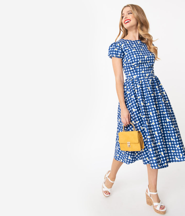 Collectif Blue Gingham Daisy Demira Swing Dress
