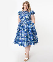 Plus Size Checkered Gingham Print Cotton Summer Scoop Neck Back Zipper Gathered V Back Fitted Swing-Skirt Puff Sleeves Sleeves Dress