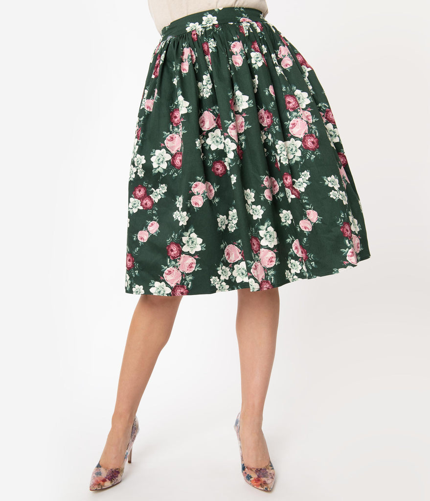Collectif 1950s Dark Green Vintage Bloom Jasmine Swing Skirt