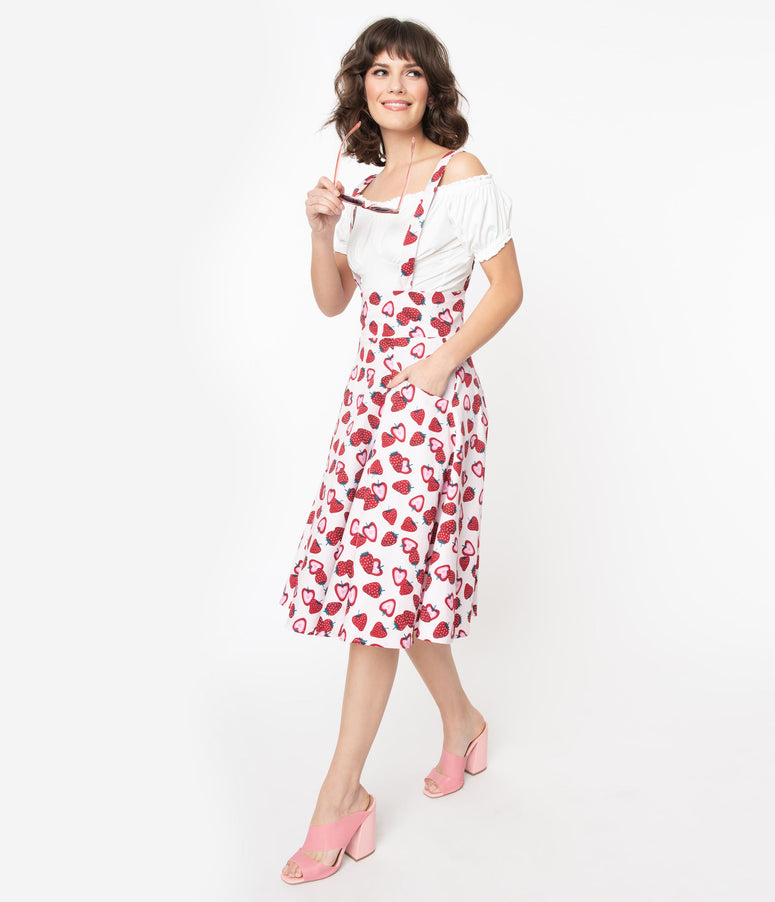 Collectif Light Pink & Red Strawberry Alexa Swing Skirt