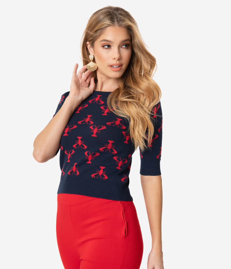 Collectif Navy & Red Lobster Chrissie Knit Sweater