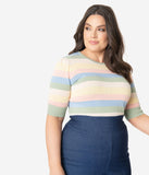 Collectif Plus Size Pastel Stripe Chrissie Sweater Top