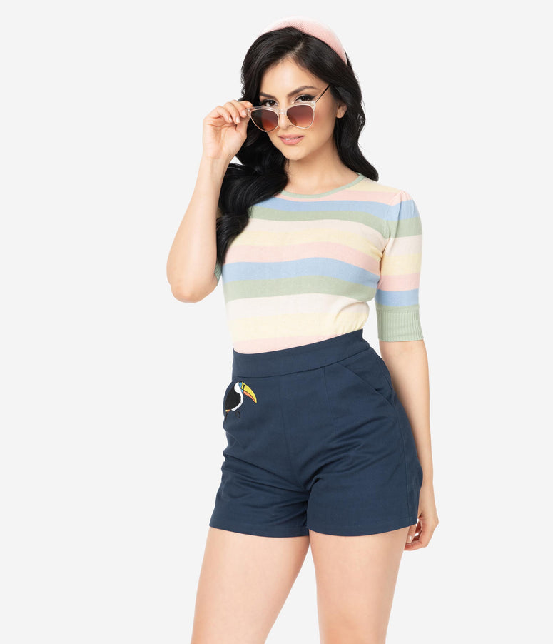 Collectif Pastel Stripe Chrissie Sweater Top