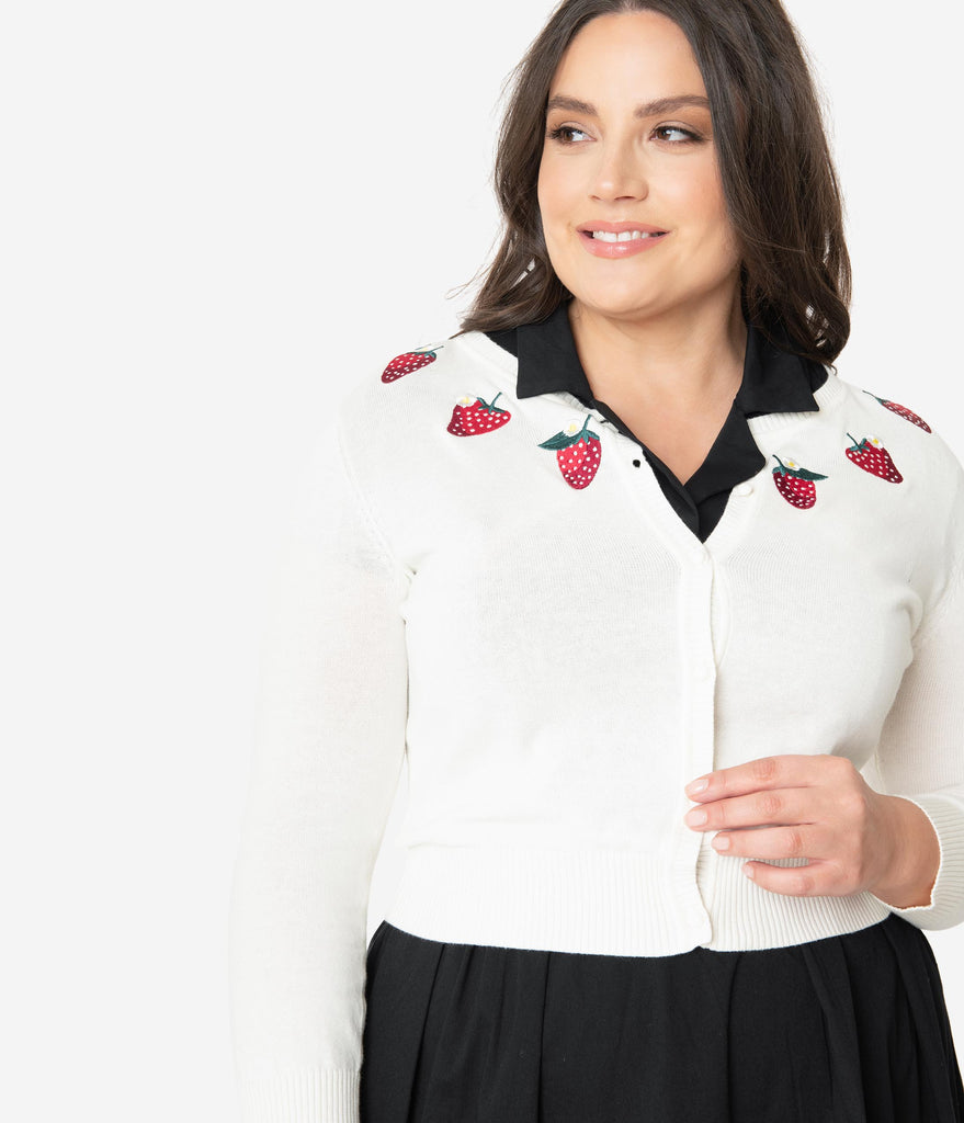 Collectif Plus Size 1950s Ivory Strawberry Abigail Crop Cardigan