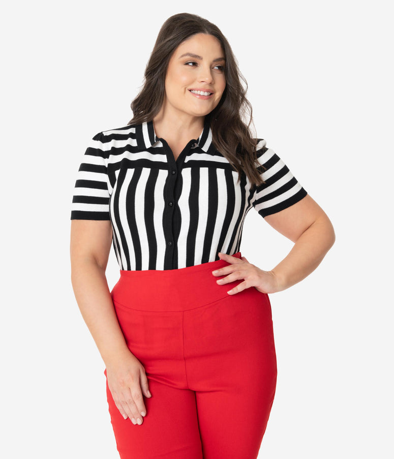 Collectif Plus Size Black & White Short Sleeve Lailie Striped Cardigan