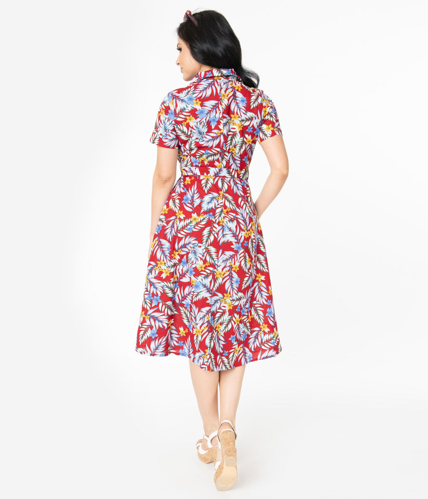 1950s Style Burgundy Tropical Print Swing Dress
