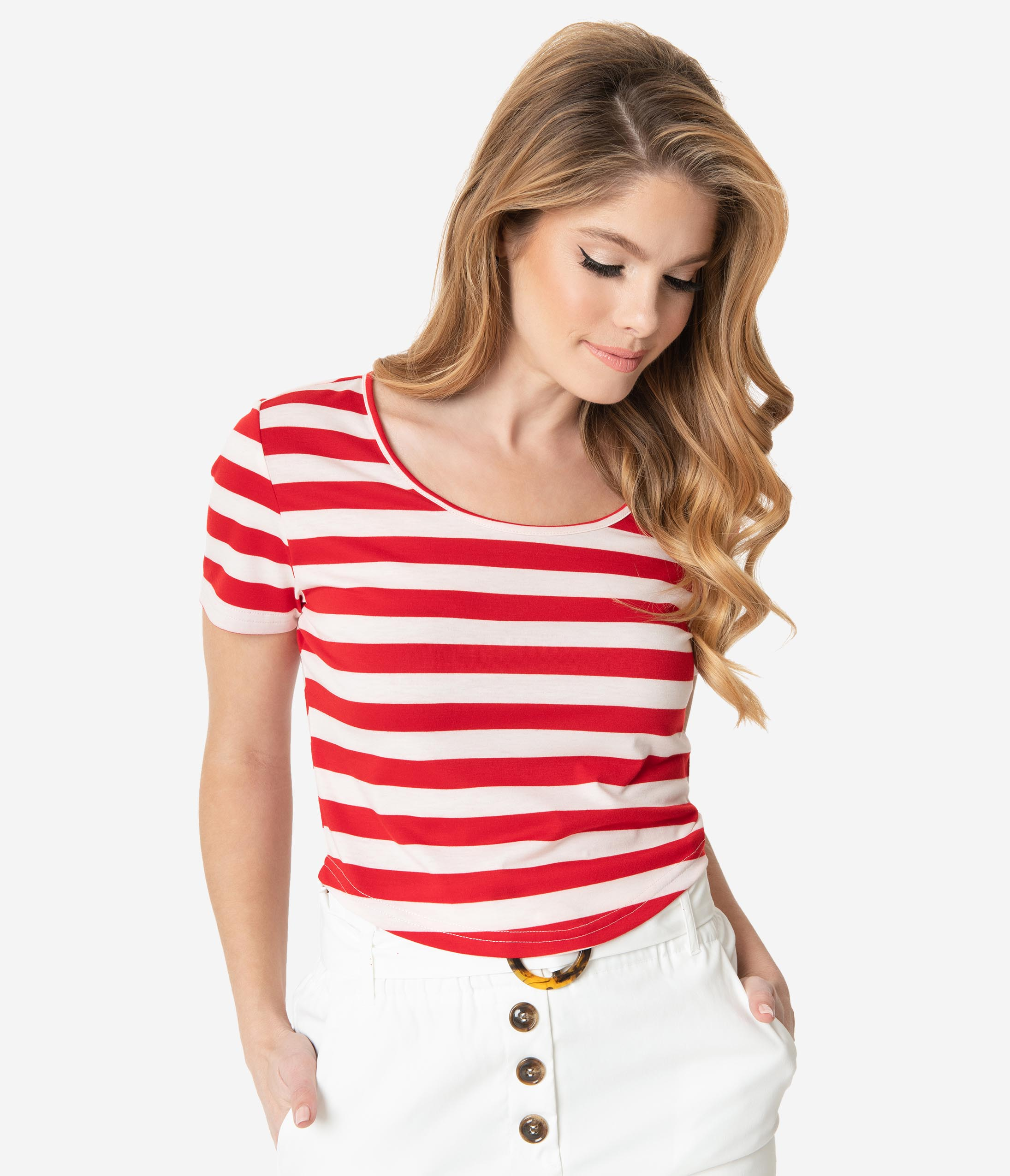 1940s Blouses and Tops Red  White Striped Short Sleeve Crop Top $36.00 AT vintagedancer.com