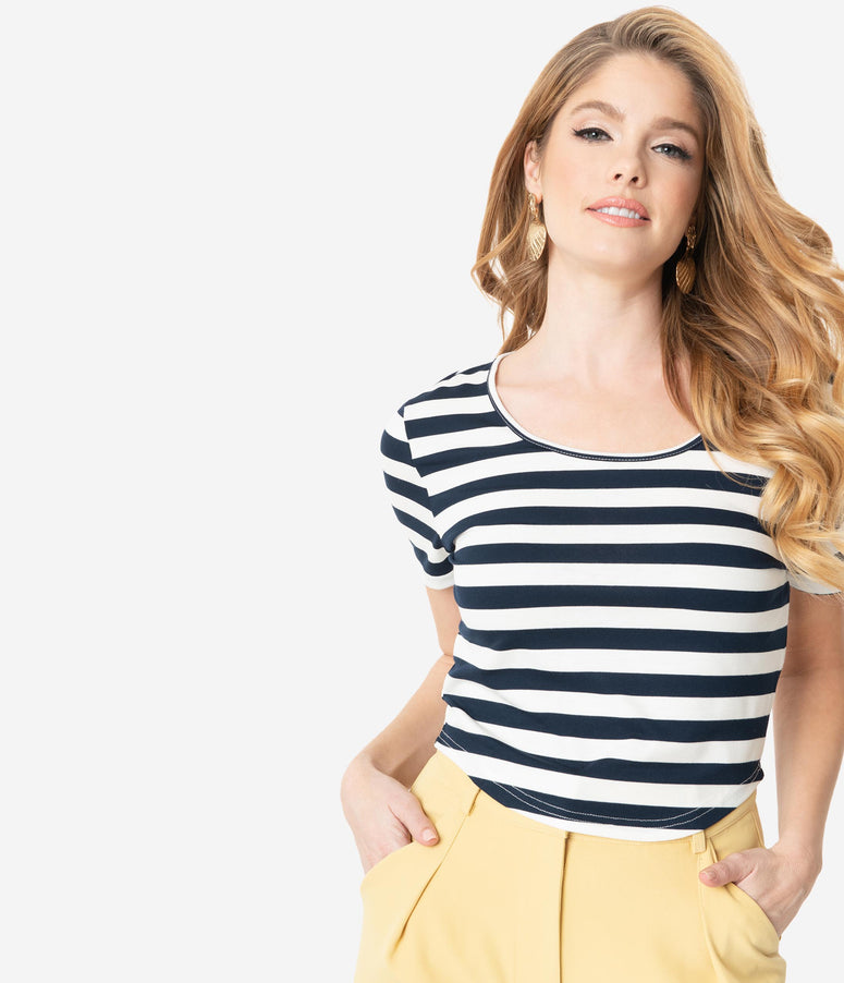 Navy & White Striped Short Sleeve Crop Top