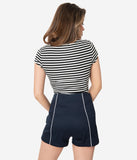 Retro Style Navy Blue High Waist Shorts