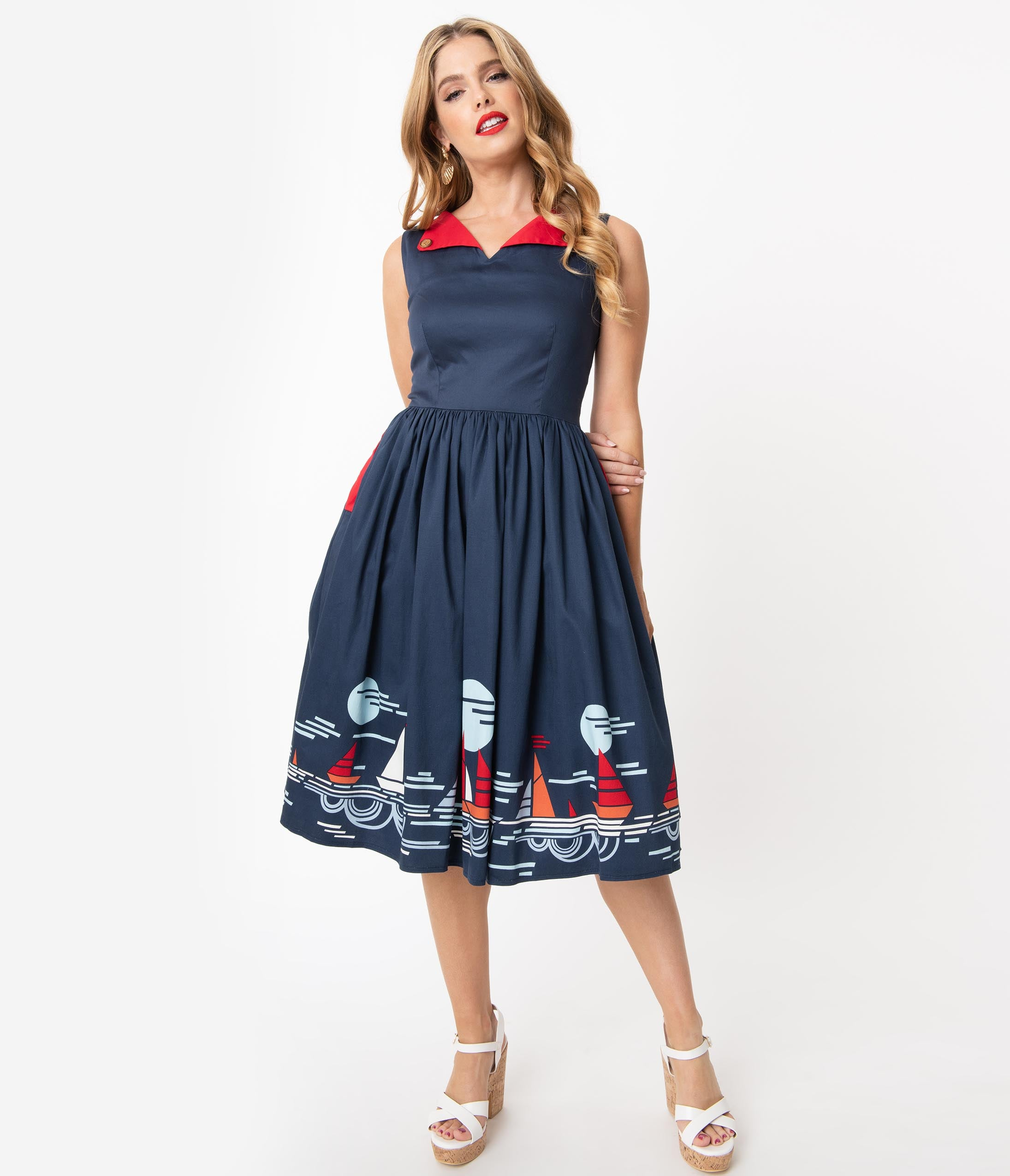 1950s Dresses, 50s Dresses | 1950s Style Dresses 1950S Style Navy Summer Sailing Scene Swing Dress $78.00 AT vintagedancer.com