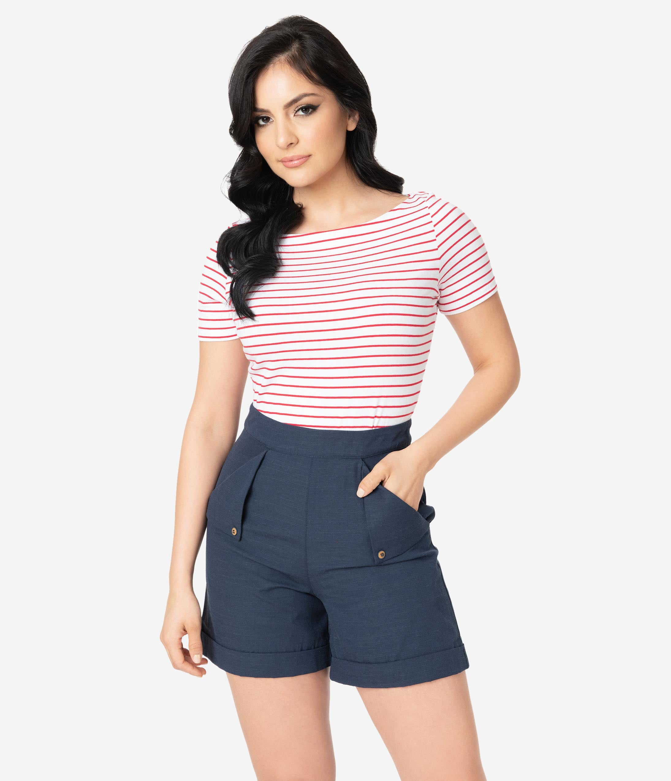Vintage High Waisted Shorts, Sailor Shorts, Retro Shorts Navy High Waist Nautical Shorts $42.00 AT vintagedancer.com