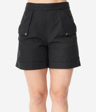 Black High Waist Nautical Shorts