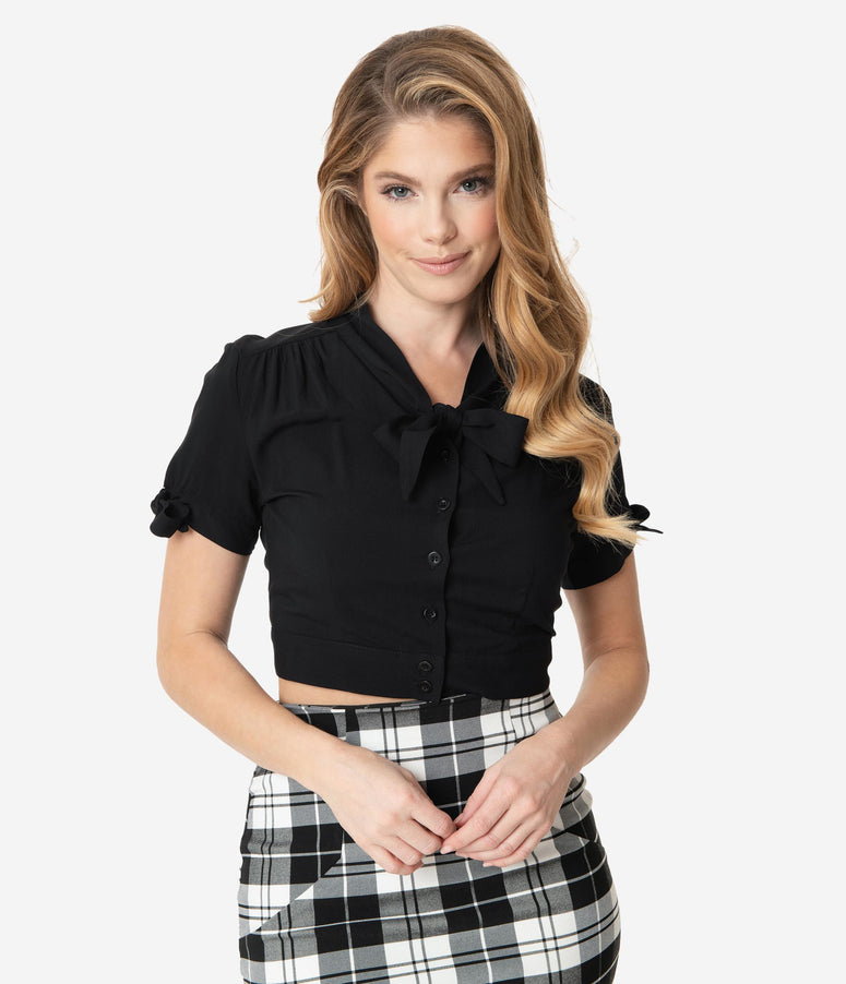 Black Short Sleeve Neck Tie Crop Blouse