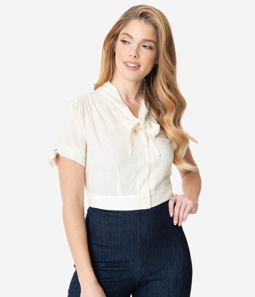 Ivory Short Sleeve Neck Tie Crop Blouse
