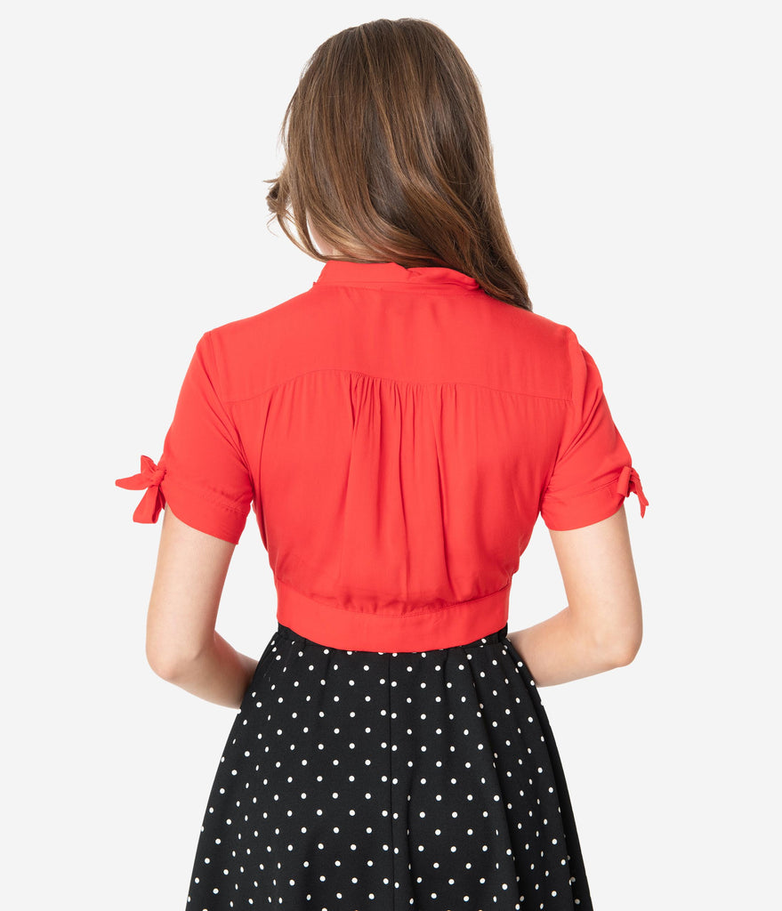 Red Short Sleeve Neck Tie Crop Blouse