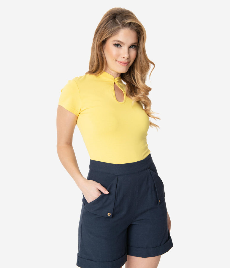 Yellow Cotton Mandarin Collar Short Sleeve Top