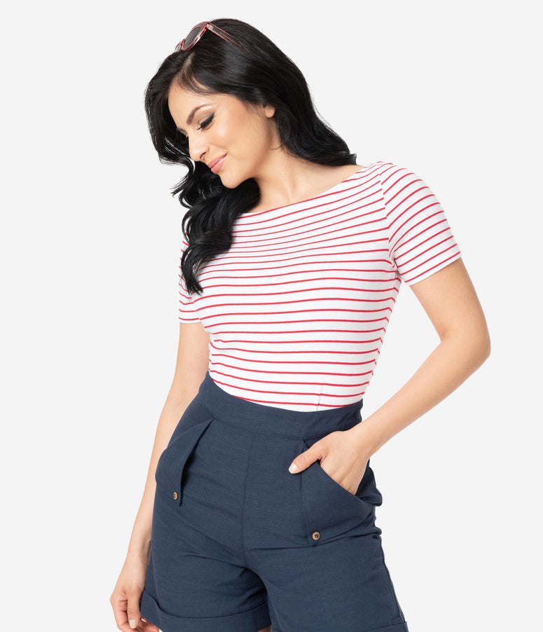 Red & White Striped Short Sleeve Top