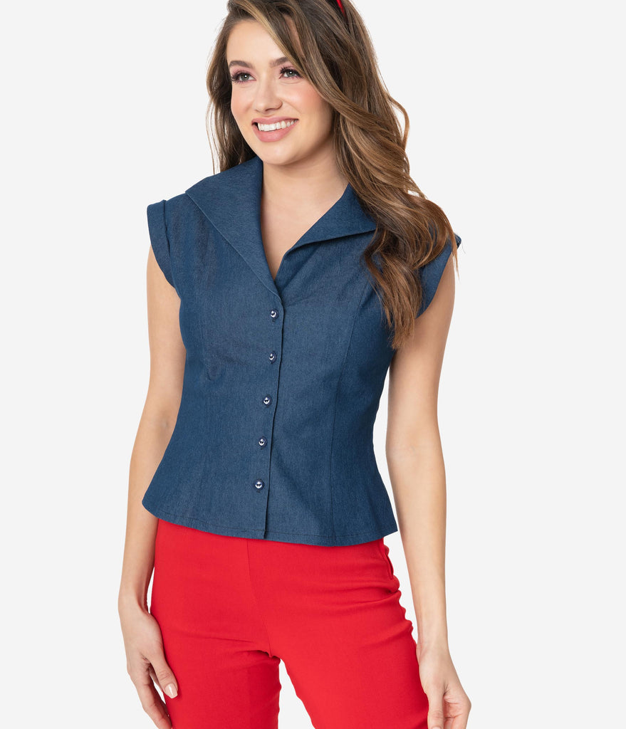 Retro Style Denim Blue Button Up Cap Sleeve Blouse