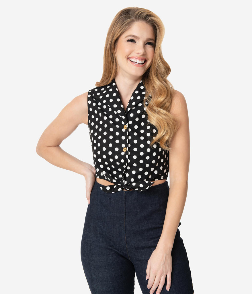 Black & White Polka Dot Sleeveless Blouse