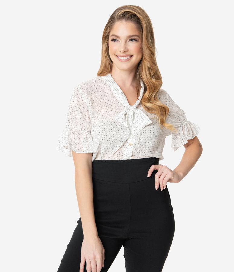 White & Black Micro Dot Button Up Short Sleeve Blouse