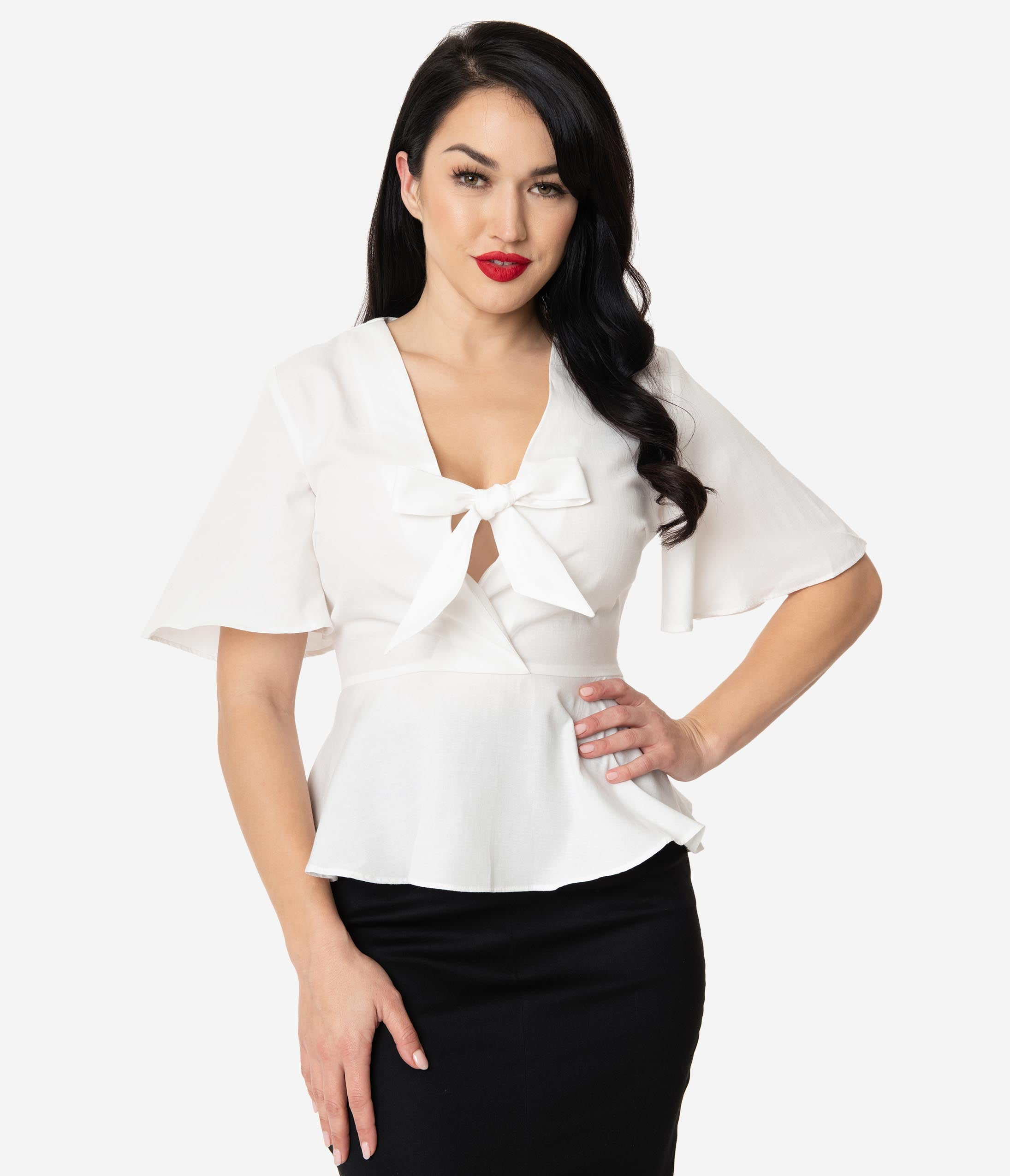 1940s Blouses and Tops White Short Sleeve Peplum Blouse $48.00 AT vintagedancer.com