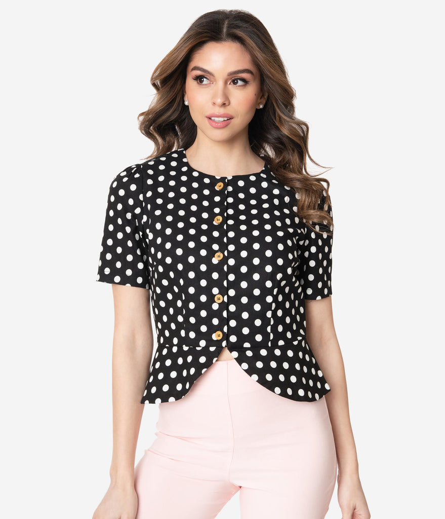 Vintage Black and White Polka Dot Ruched Front Sleeveless Boxy Blouse Basic Summer Top