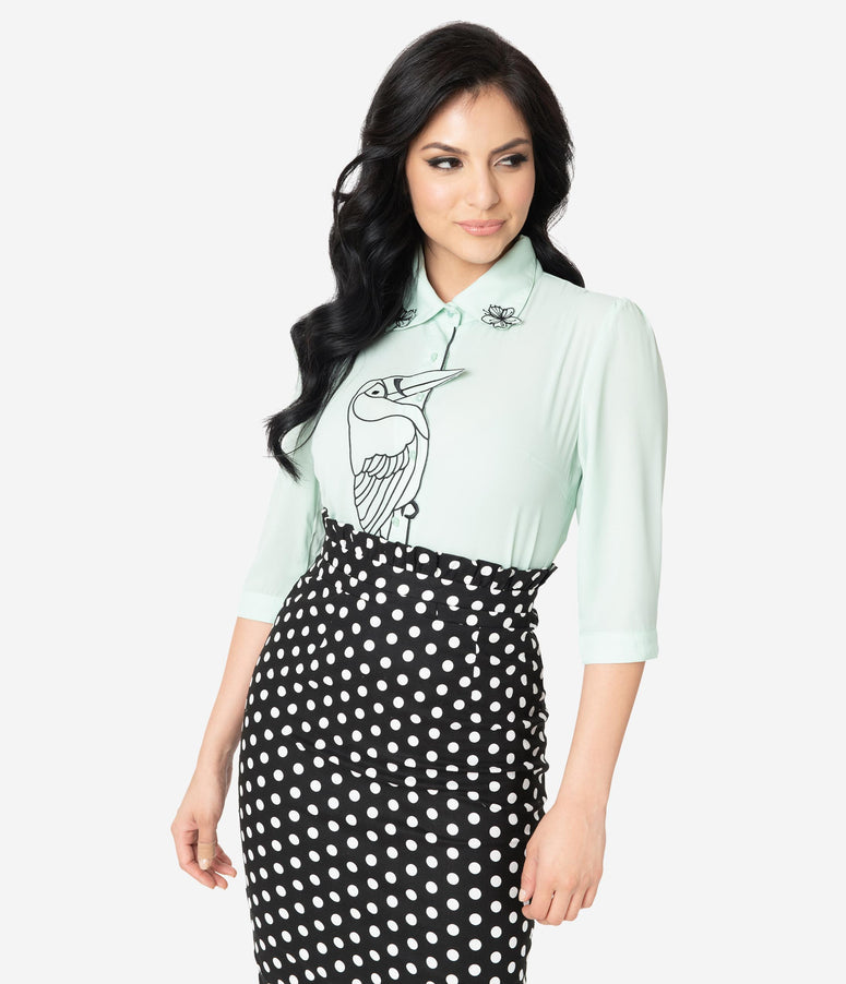 Retro Style Mint Toucan Blouse